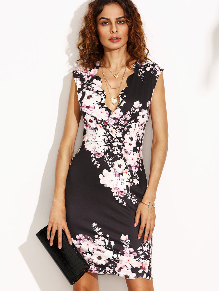 Flower Print Scalloped Trim Sheath Dress - The Style Syndrome  - 1