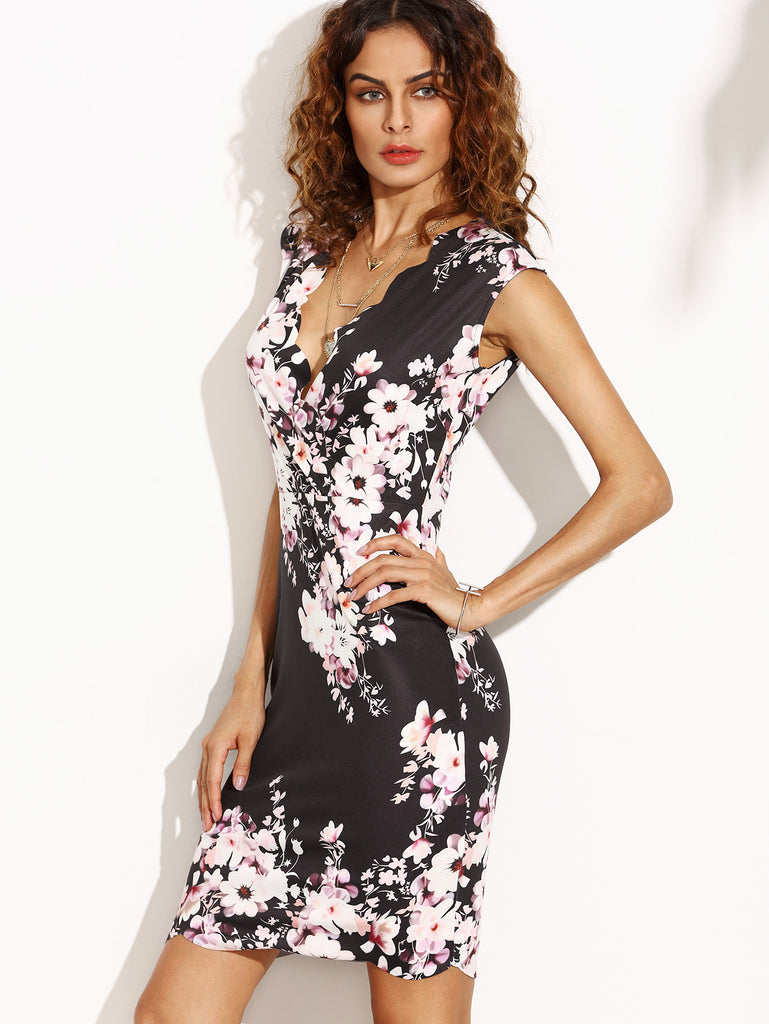 Flower Print Scalloped Trim Sheath Dress - The Style Syndrome  - 2