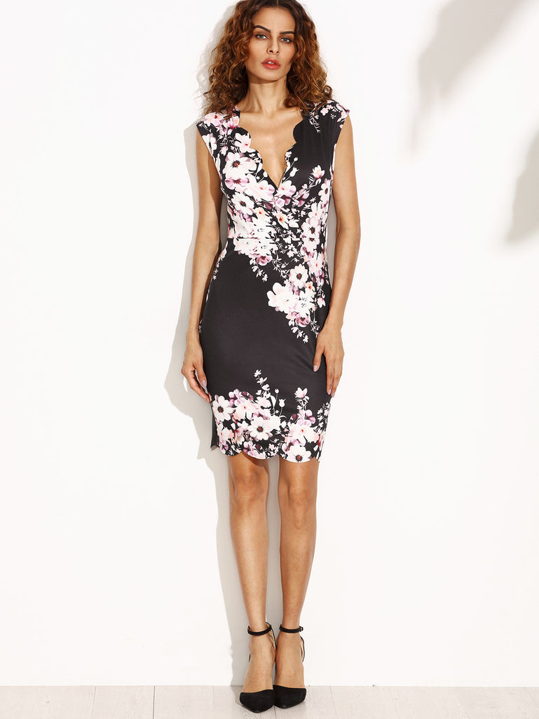Flower Print Scalloped Trim Sheath Dress - The Style Syndrome  - 4
