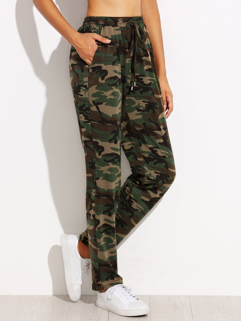 RZX Olive Green Camo Print Drawstring Jersey Pants