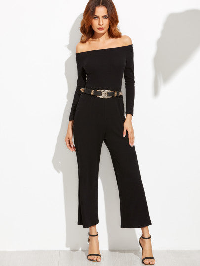 Black Off The Shoulder Wide Leg Jumpsuit - The Style Syndrome