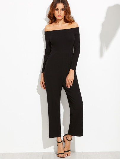Black Off The Shoulder Wide Leg Jumpsuit - The Style Syndrome  - 2