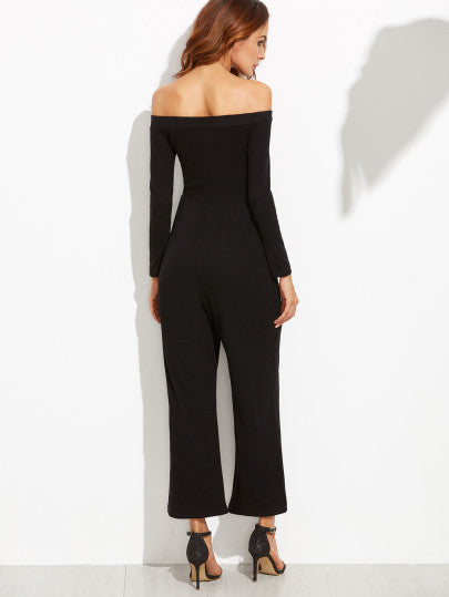 Black Off The Shoulder Wide Leg Jumpsuit - The Style Syndrome  - 4