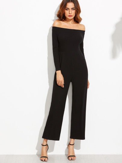 Black Off The Shoulder Wide Leg Jumpsuit - The Style Syndrome  - 3