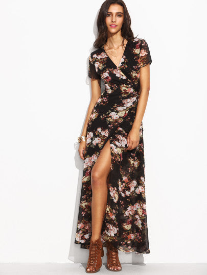 Florals Self Tie Waist High Split Wrap Dress - The Style Syndrome  - 1