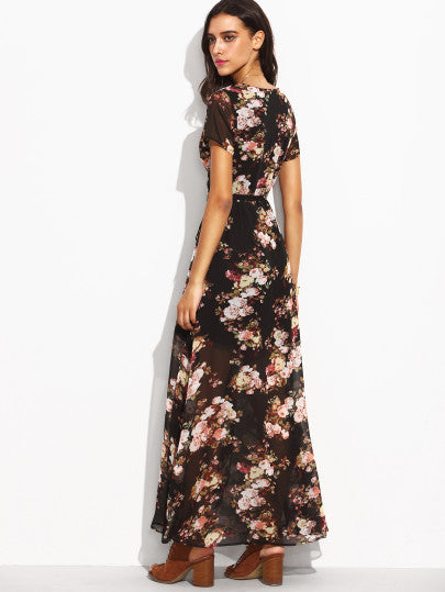 Florals Self Tie Waist High Split Wrap Dress - The Style Syndrome  - 4