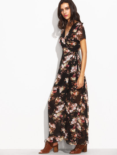 Florals Self Tie Waist High Split Wrap Dress - The Style Syndrome  - 2