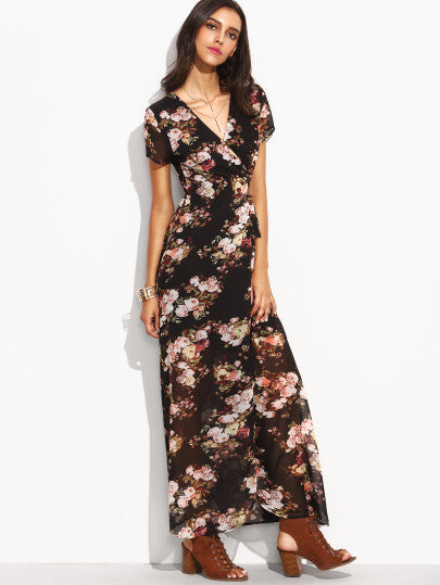 Florals Self Tie Waist High Split Wrap Dress - The Style Syndrome  - 3