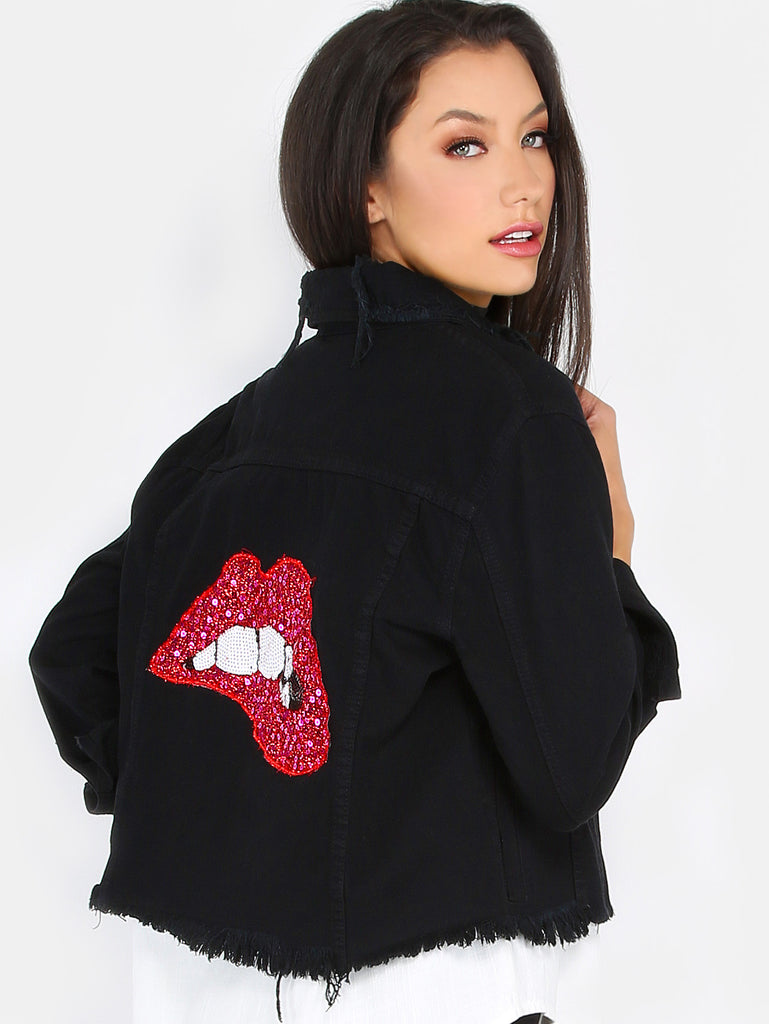 Sequins Lips Distressed Denim Jacket BLACK RZX