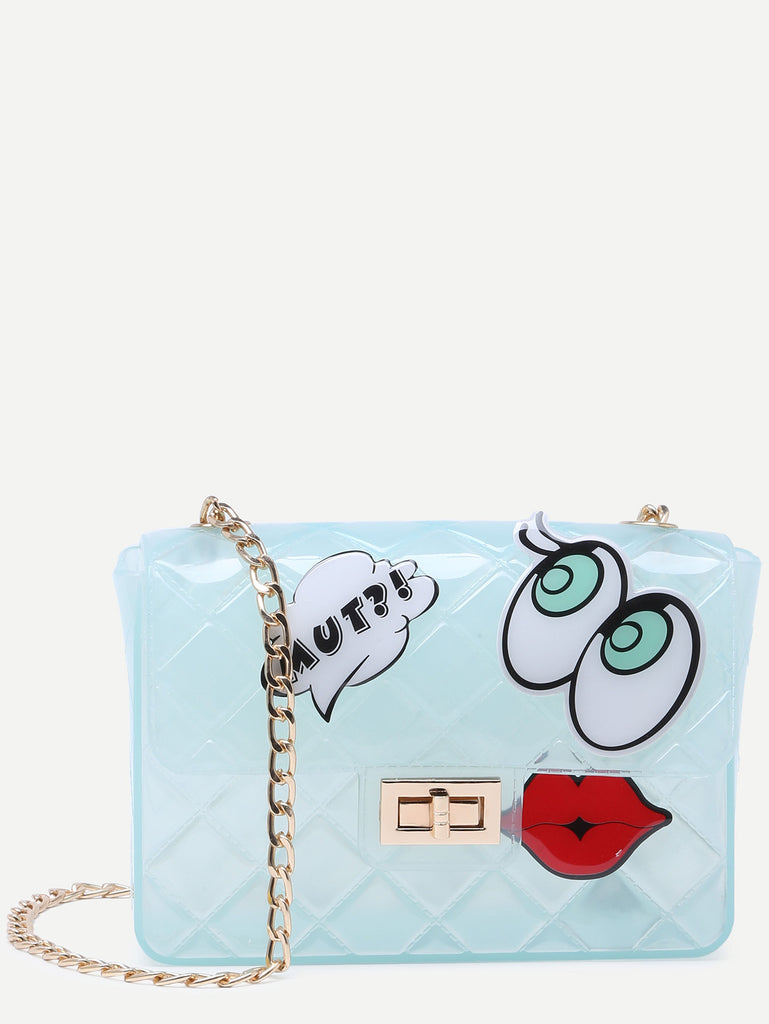 Blue Eyes Lip Patch Clear Crossbody Bag - The Style Syndrome  - 1