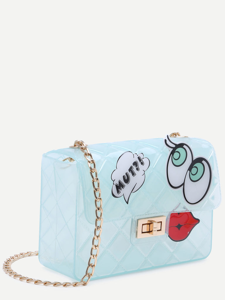 Blue Eyes Lip Patch Clear Crossbody Bag - The Style Syndrome  - 3