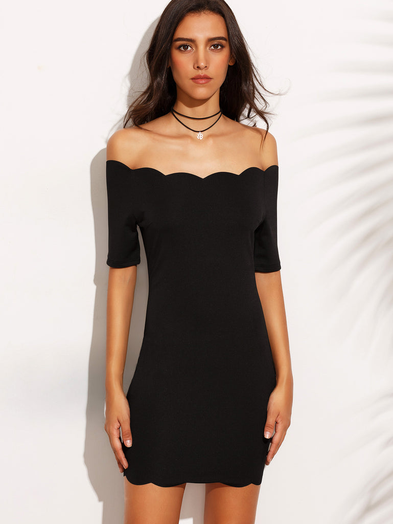 Black Off The Shoulder Scallop Hem Bodycon Dress - The Style Syndrome  - 2