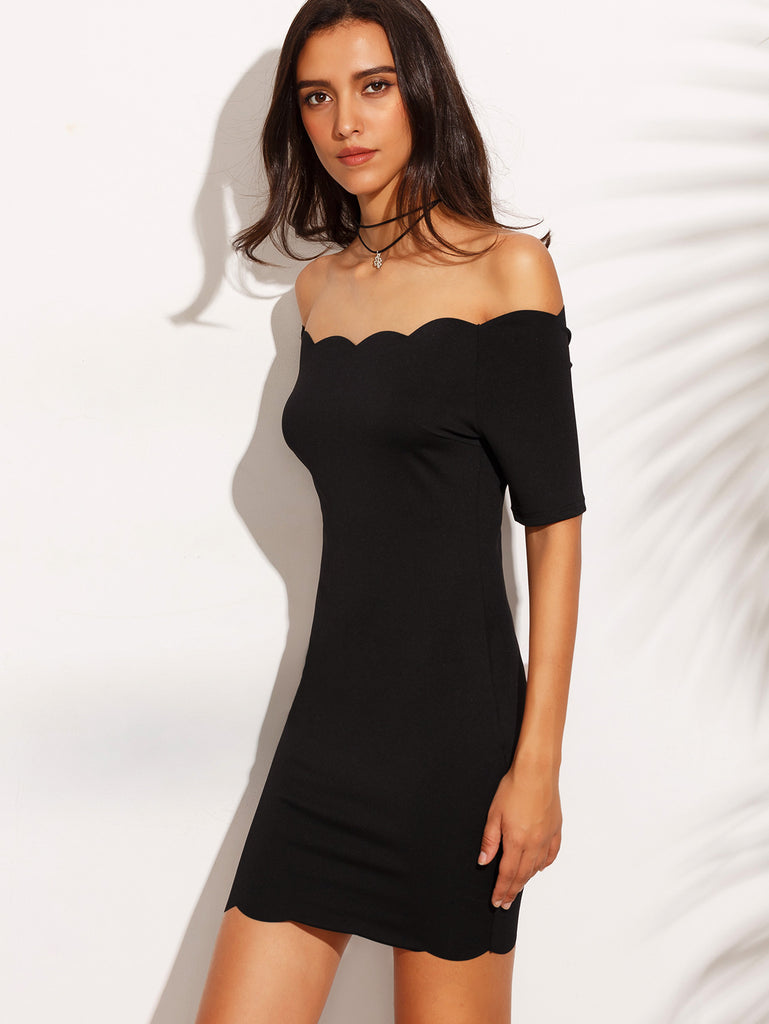 Black Off The Shoulder Scallop Hem Bodycon Dress - The Style Syndrome  - 3