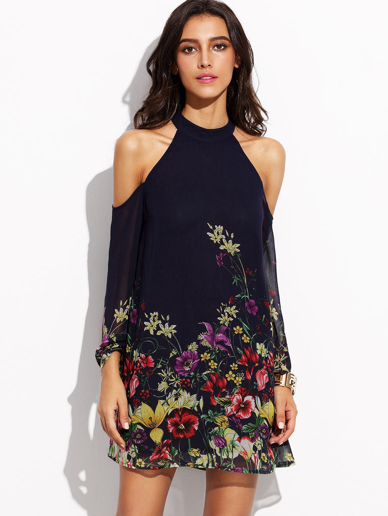 Navy Flower Print Keyhole Halter Neck Cold Shoulder Dress - The Style Syndrome  - 1