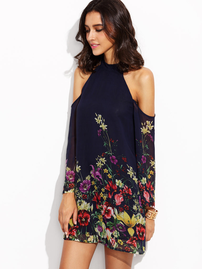 Navy Flower Print Keyhole Halter Neck Cold Shoulder Dress - The Style Syndrome  - 3