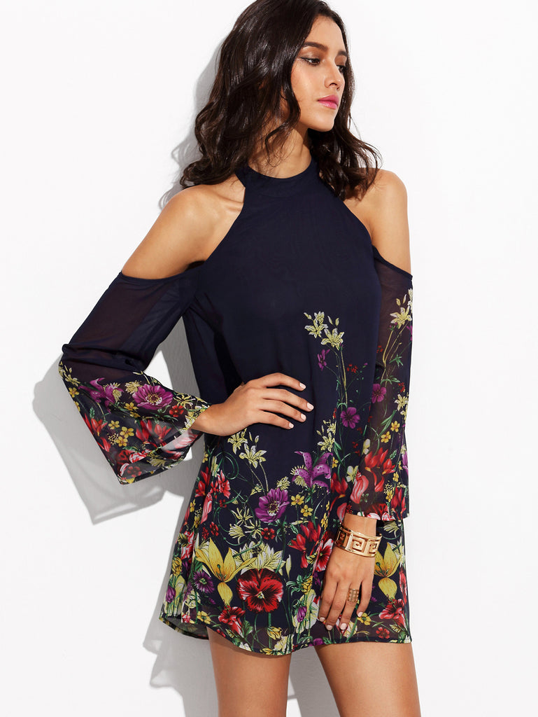 Navy Flower Print Keyhole Halter Neck Cold Shoulder Dress - The Style Syndrome  - 2