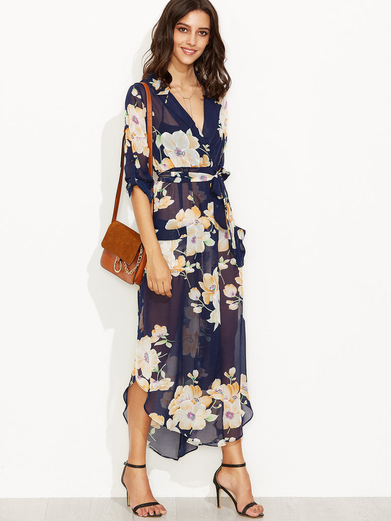 Navy Floral Print Self Tie Wrap Chiffon Dress - The Style Syndrome  - 5