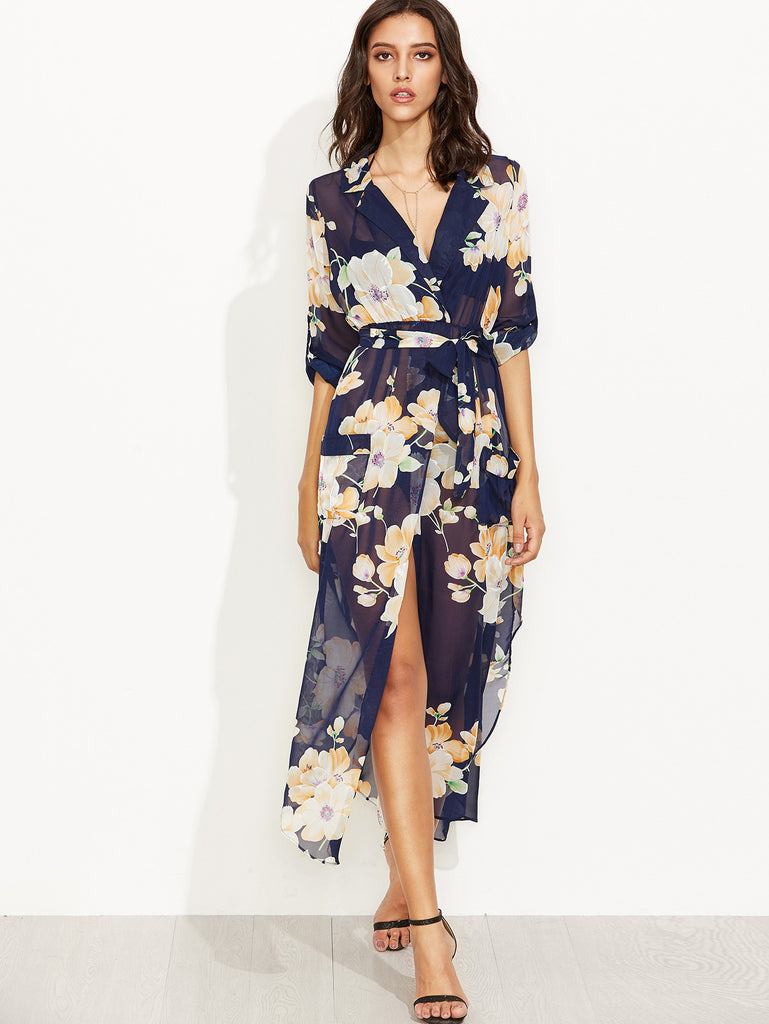Navy Floral Print Self Tie Wrap Chiffon Dress - The Style Syndrome  - 2