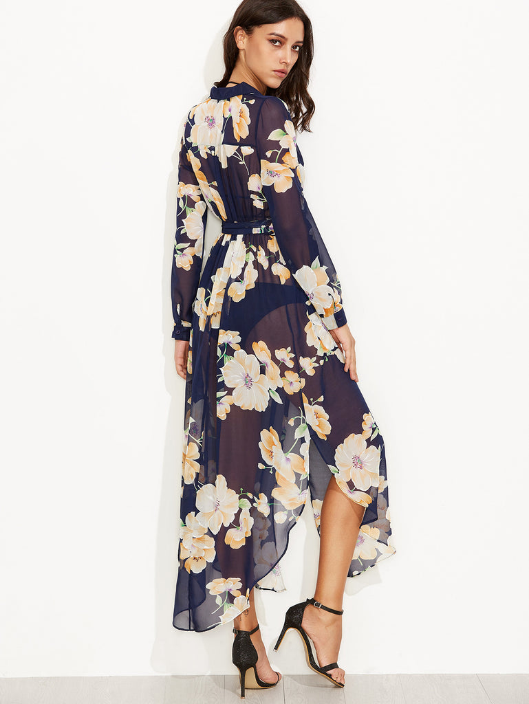 Navy Floral Print Self Tie Wrap Chiffon Dress - The Style Syndrome  - 4