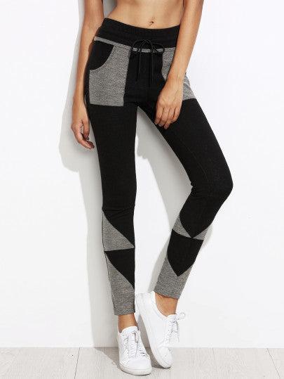 Black Contrast Geo Patch Skinny Drawstring Jersey Pants - The Style Syndrome