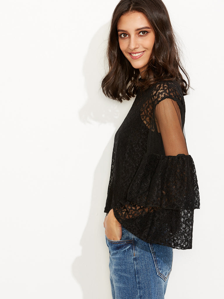 Black Lace Mesh Insert Keyhole Back Blouse With Cami Top - The Style Syndrome