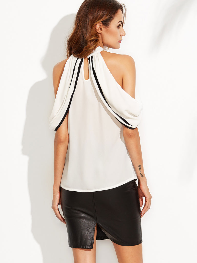 White Cold Shoulder Keyhole Back Blouse - The Style Syndrome  - 4