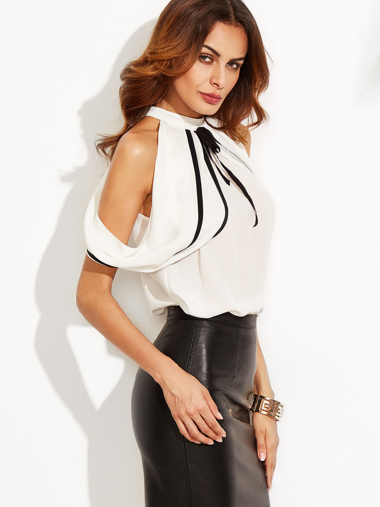 White Cold Shoulder Keyhole Back Blouse - The Style Syndrome  - 2