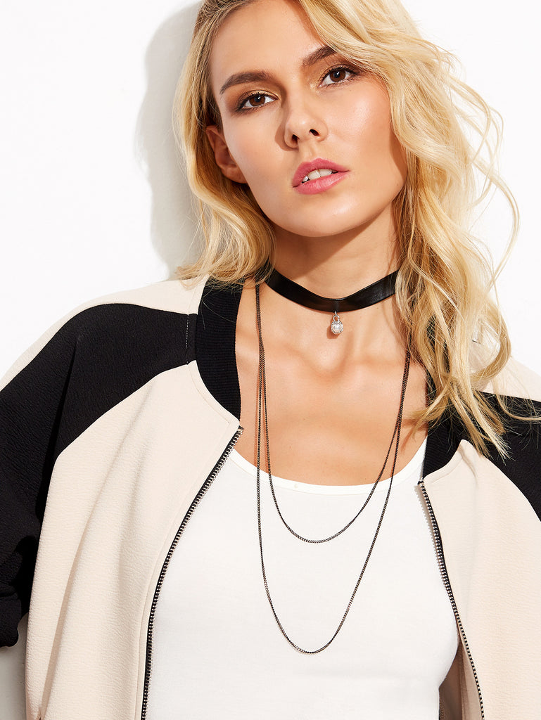 Chain Layered Pearl Faux Leather Choker Necklace - The Style Syndrome  - 1