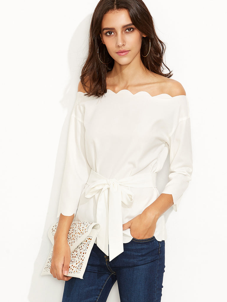 White Belted Scallop Trim Off The Shoulder Top - The Style Syndrome  - 3