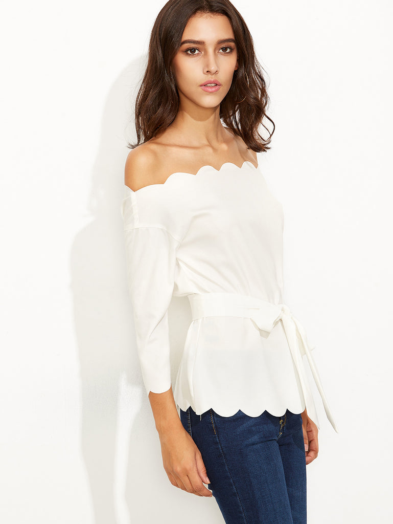White Belted Scallop Trim Off The Shoulder Top - The Style Syndrome  - 2
