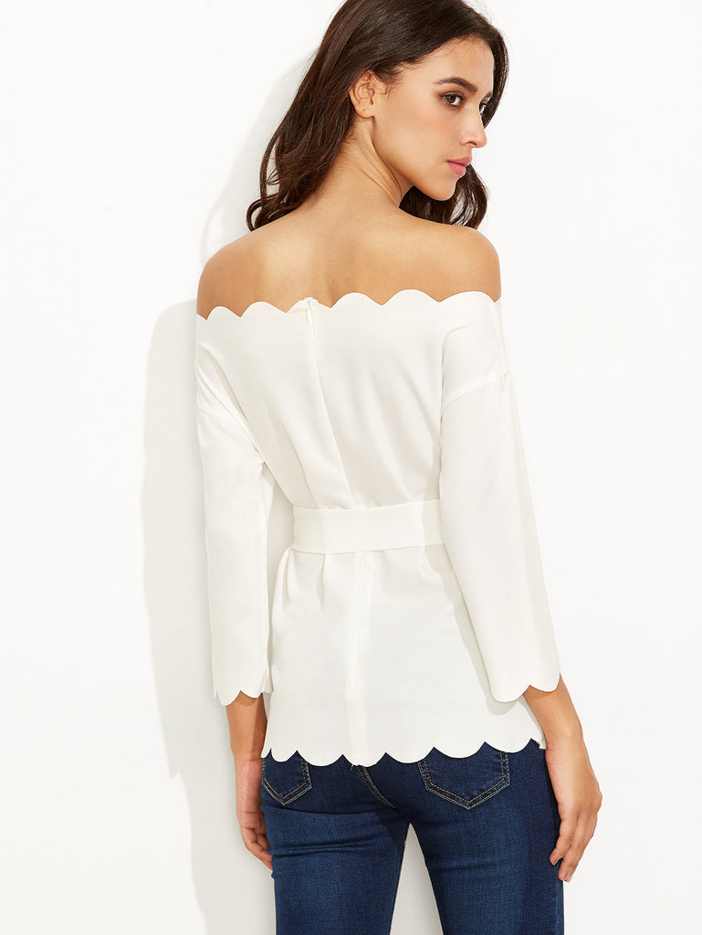 White Belted Scallop Trim Off The Shoulder Top - The Style Syndrome  - 4