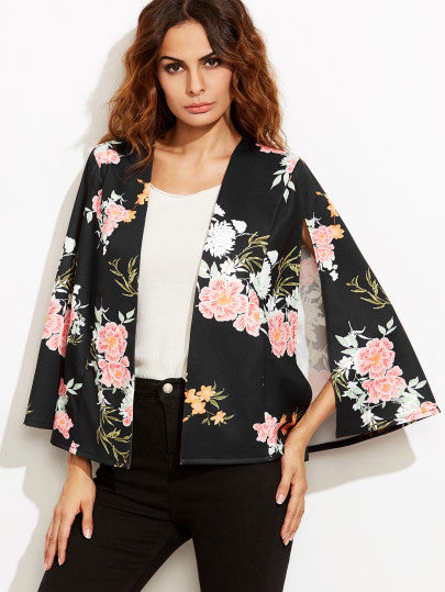 Black Flower Print Open Front Cape Blazer - The Style Syndrome