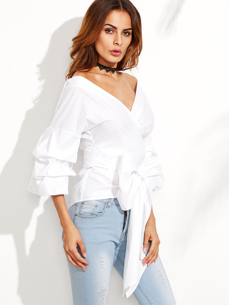 White Layered Sleeve Bow Tie Off The Shoulder Surplice Top - The Style Syndrome  - 2