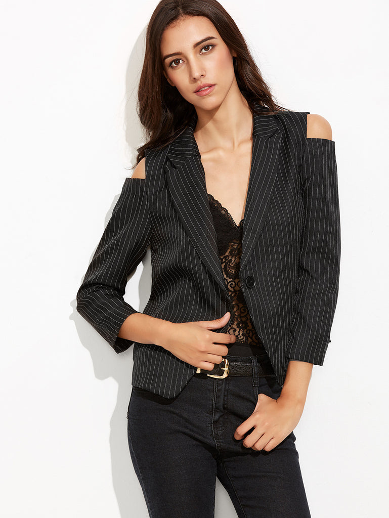 Black Vertical Striped Open Shoulder Single Button Blazer - The Style Syndrome  - 1