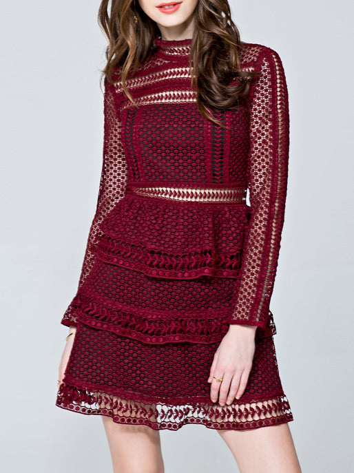 Burgundy Crochet Hollow Out A-Line Dress