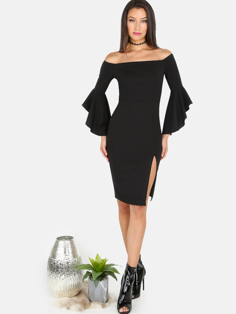 Open Shoulder Slit Midi Dress BLACK - The Style Syndrome  - 1