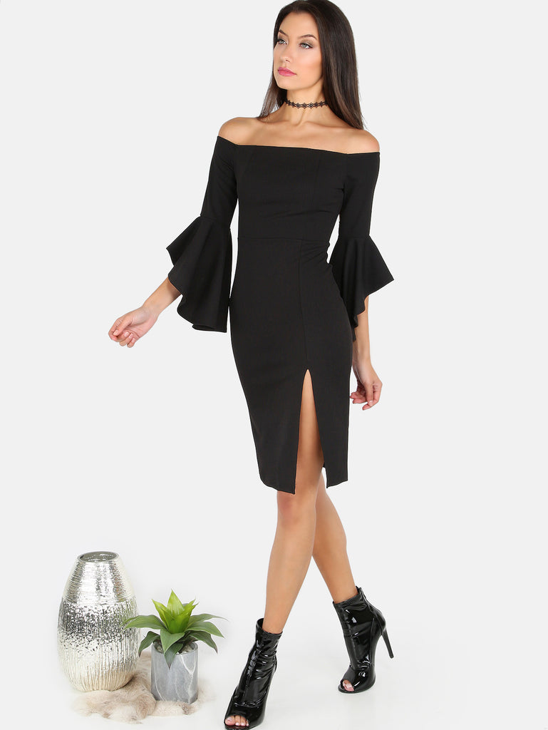 Open Shoulder Slit Midi Dress BLACK - The Style Syndrome  - 2
