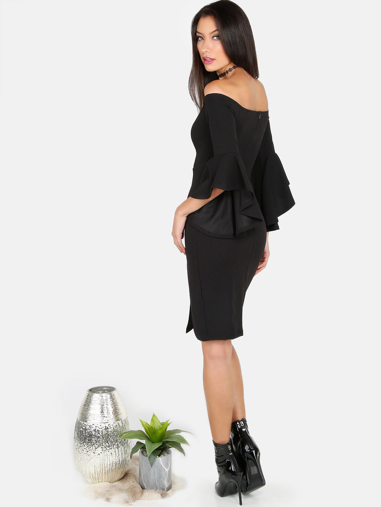 Open Shoulder Slit Midi Dress BLACK - The Style Syndrome  - 3