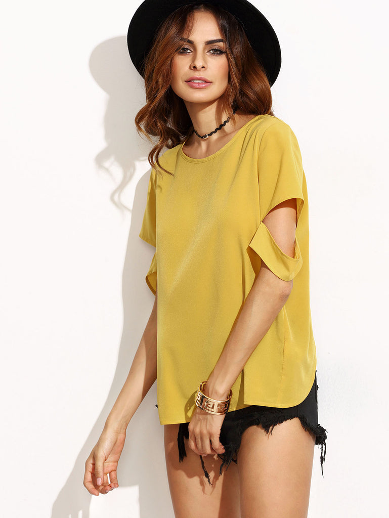 Yellow Split Back Ripped Sleeve Top - The Style Syndrome  - 3
