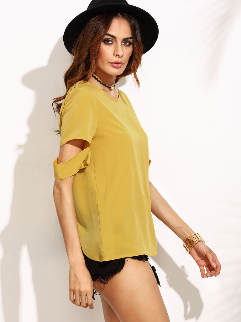 Yellow Split Back Ripped Sleeve Top - The Style Syndrome  - 4