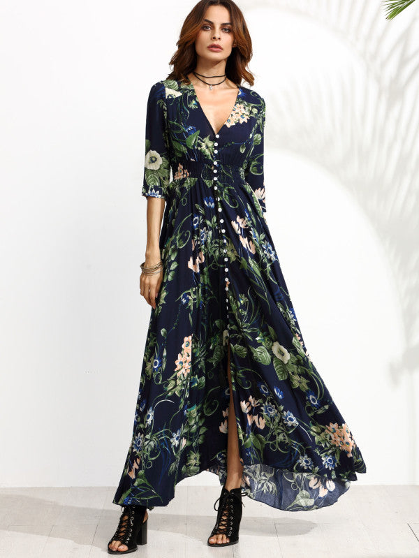 Calico Print Plunge Neck Button Front Maxi Dress