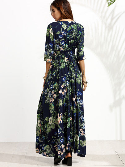 Navy Floral Print Half Sleeve Button Front Dress - The Style Syndrome  - 2