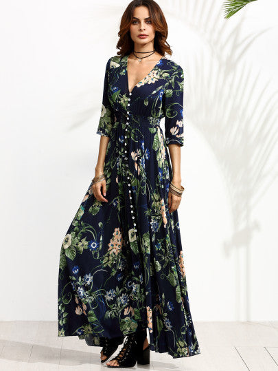 Navy Floral Print Half Sleeve Button Front Dress - The Style Syndrome  - 4