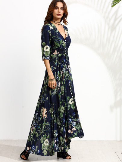 Navy Floral Print Half Sleeve Button Front Dress - The Style Syndrome  - 3