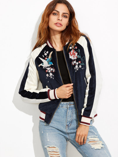 Navy Embroidery Bomber Jacket Whith Zipper - The Style Syndrome  - 1