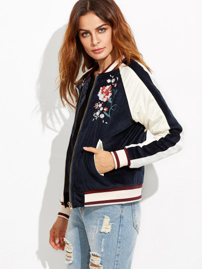 Navy Embroidery Bomber Jacket Whith Zipper - The Style Syndrome  - 4