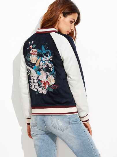 Navy Embroidery Bomber Jacket Whith Zipper - The Style Syndrome  - 3
