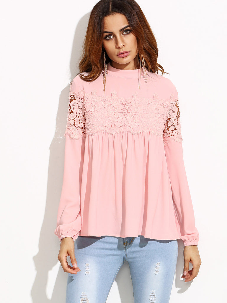 Pink Mock Neck Lace Applique Babydoll Top - The Style Syndrome  - 1