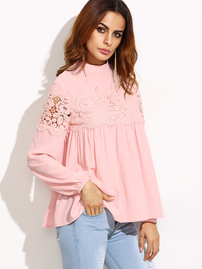 Pink Mock Neck Lace Applique Babydoll Top - The Style Syndrome  - 2