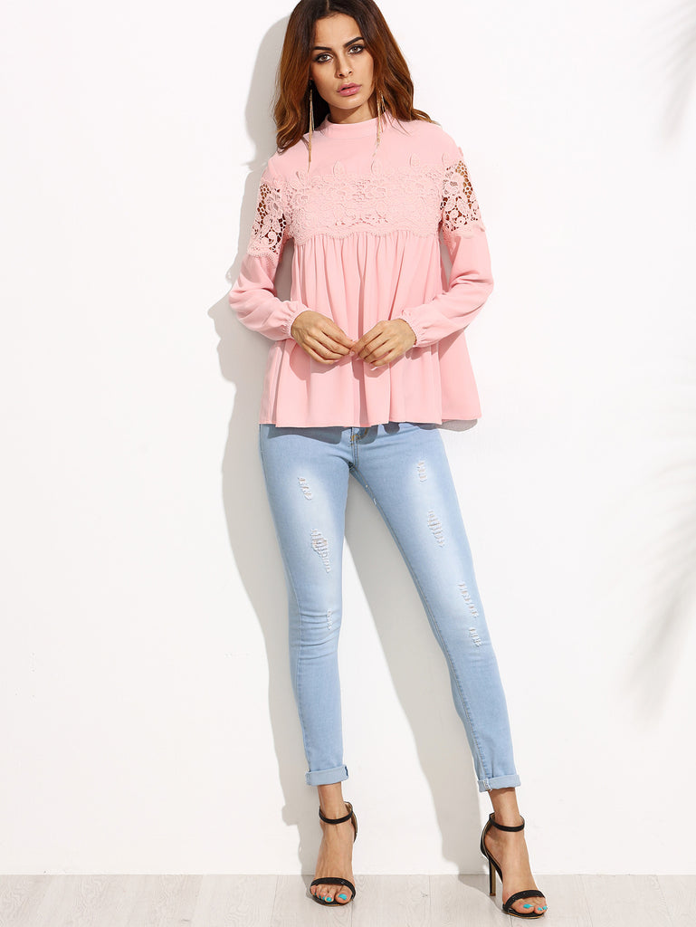 Pink Mock Neck Lace Applique Babydoll Top - The Style Syndrome  - 4